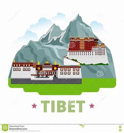 Tibet Cartoon Vector Country Illustration Flat Template