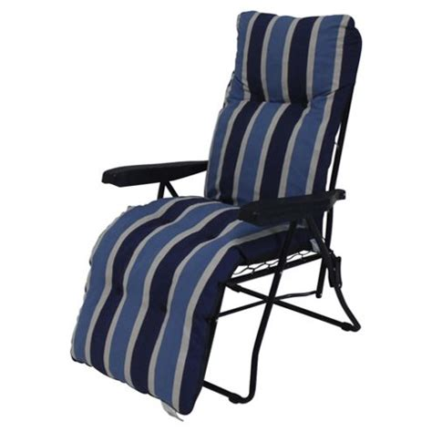 buy padded garden reclining chair blue stripe from our