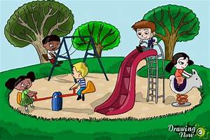 How to Draw Kids Playing In a Playground - DrawingNow