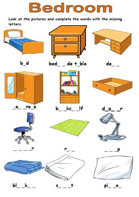 Bedroom Blueprint Activity by Bedroom Missing Letters Activity