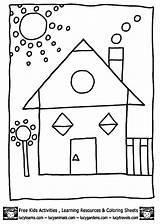 Coloring Shape Shapes Pages Printable Sheets Worksheets Colouring Preschool Sheet Math Worksheet Easy Kindergarten Geometric Houses Template Cool Number Worksheeto sketch template