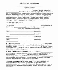 7 sample last will and testament forms sample templates With last will and testament sample document
