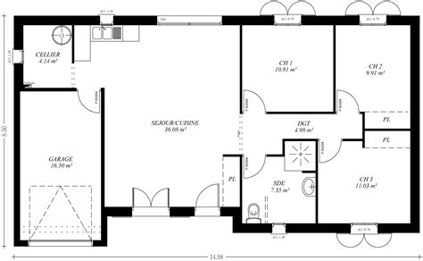 plan maison plain pied 3 chambres avec garage cuisine modã le plan maison plain pied plan de maison