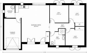 plan maison plain pied 3 chambres maison moderne With exemple des plans de maison