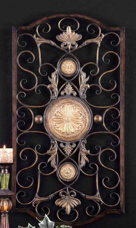 large tuscan decor scroll wrought iron metal wall grille grill wall art plaque ebay