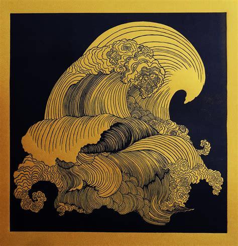 The Wave linocut print on Behance
