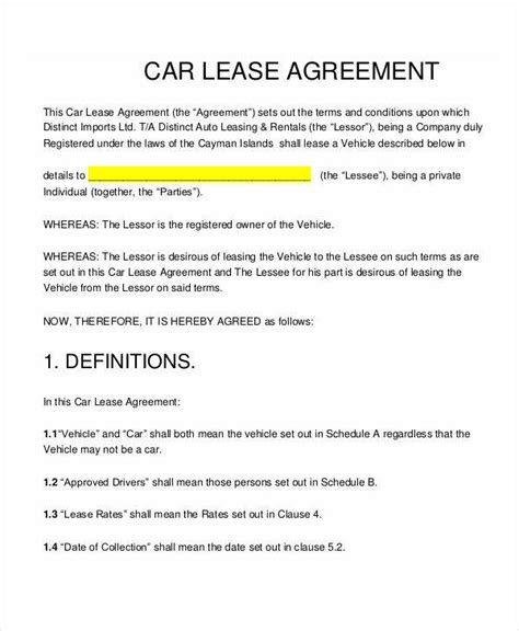 lease contract templates word google docs format