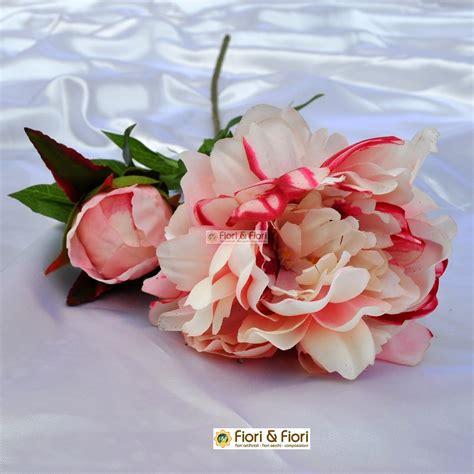 fiore la rosa peonia artificiale coral rosa in materiale real touch