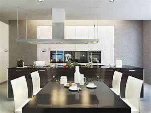 Deco d39une maison d39architecte for Deco cuisine avec table a manger design