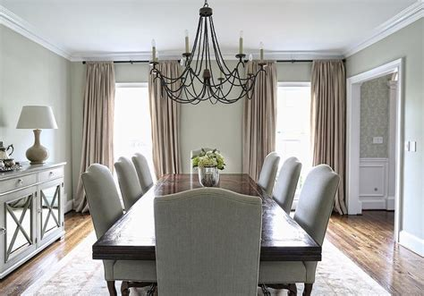 gray patterned curtains dining room with built in sideboard and china cabinets