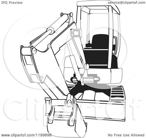 cartoon   outlined mini excavator royalty  vector clipart  djart