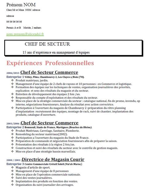 Comment Faire Un Cv En 2016 by Exemple De Cv Travail Type Cv 2016 Moto Bip