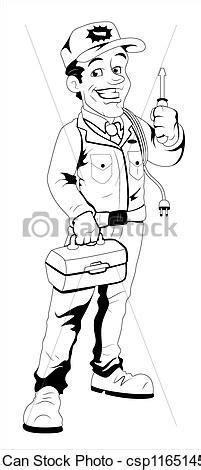 11271 electrician clipart black and white clip arte vetor de eletricista retro caricatura