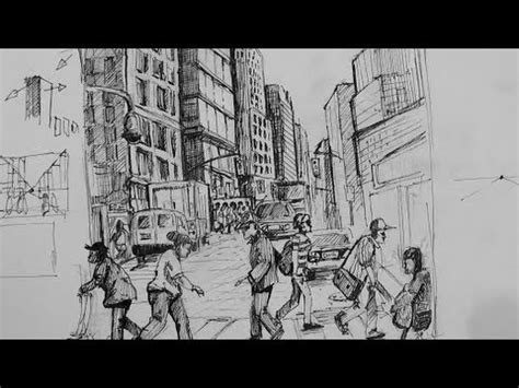 ink drawing tutorials   draw  busy city