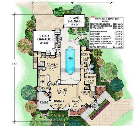 plan tx mediterranean  central courtyard luxury plan mediterranean style house