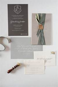 gray silk ribbon custom initial wax seal crest and white With ribbon around wedding invitations