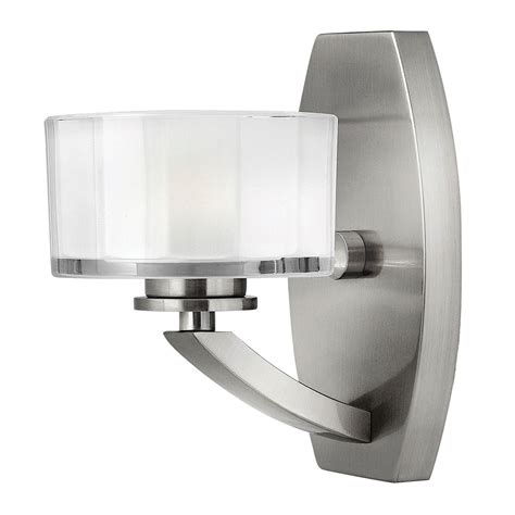 hinkley meridian brushed nickel one light led bath sconce
