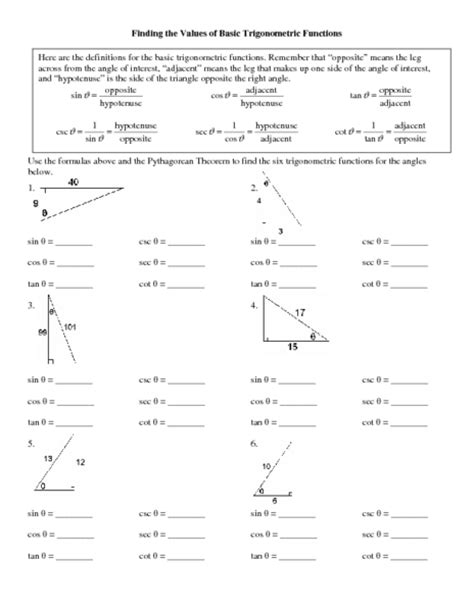 finding the values of basic trigonometric functions worksheet for 11th higher ed lesson planet