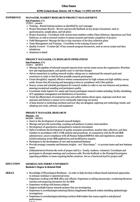 Project Lead Resume Sle by Project Manager Research Resume Sles Velvet