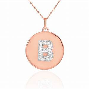 14k rose gold letter quotbquot initial diamond disc charm With letter disc necklace