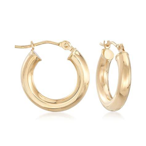 mm kt yellow gold huggie hoop earrings  ross simons