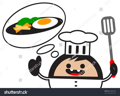 Illustration Of Funny Cartoon Chef Character Thinking