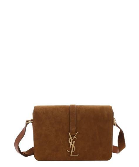 saint laurent  ocre suede ysl monogram large shoulder bag  brown lyst