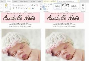 How to make child birth announcement cards in word for Baby birth announcements templates for free