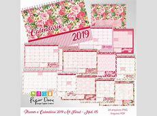 Planner Mensal e Calendário 2019 A4 Pack Floral no Elo7