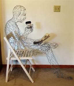 Manly Wired Sculptures   Coffee Man Ruth Jensen