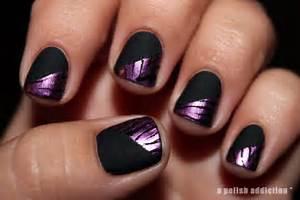 A polish addiction matte black and purple zebra stamping