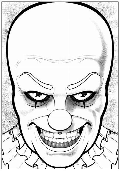 Coloring Clown Pennywise Halloween Pages Printable Drawing