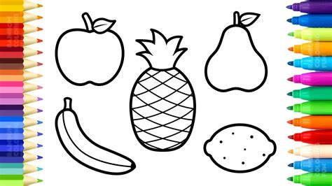 fruits coloring pages   draw  paint sweet fruits