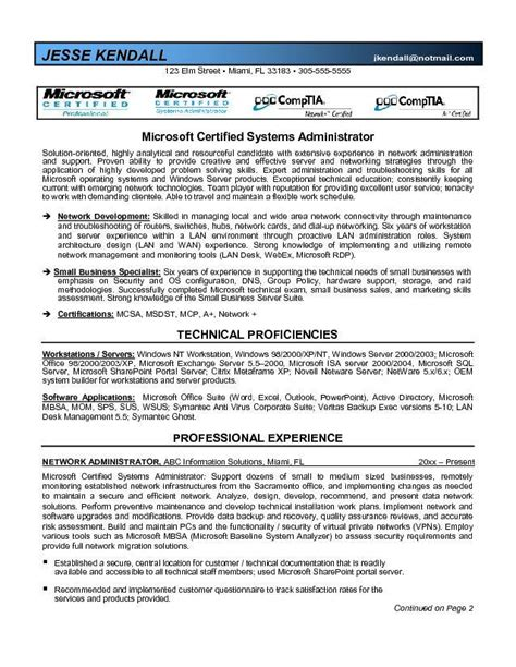 exchange server experience resume microsoft certified system administrator resume