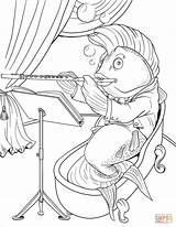 Coloring Flute Playing Fish Printable Drawing sketch template