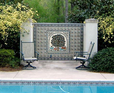 swimming pool tile and mural in mediterranean