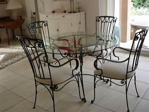 Fauteuil Fer Forgé : table en fer forge avec plateau verre 4 chaises clasf ~ Melissatoandfro.com Idées de Décoration
