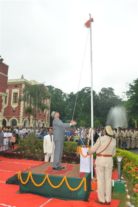 flag hoisting ceremony  independence day  august