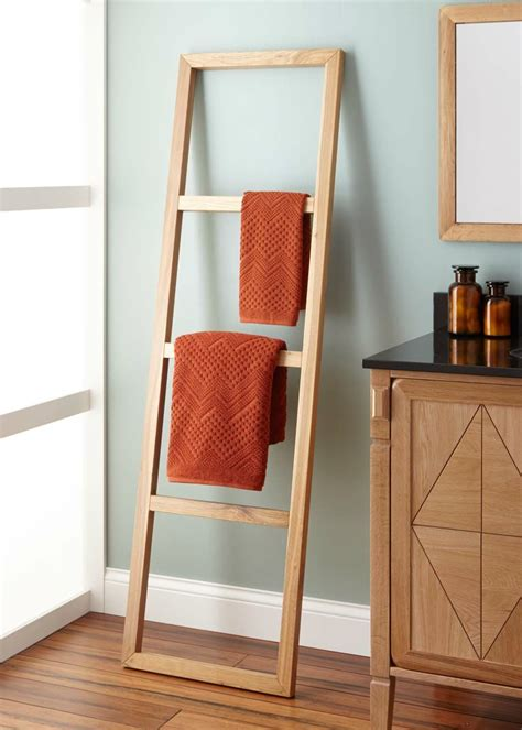 stokes teak ladder towel rack earthy ladder towel