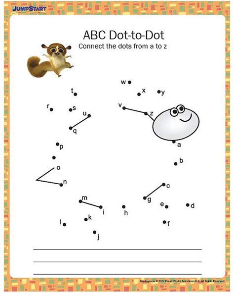 abc dot to dot printable kindergarten worksheet