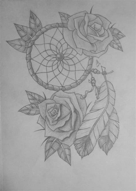 Image result for rose with dream catchers tattoos | Dream catcher tattoo, Dream catcher drawing