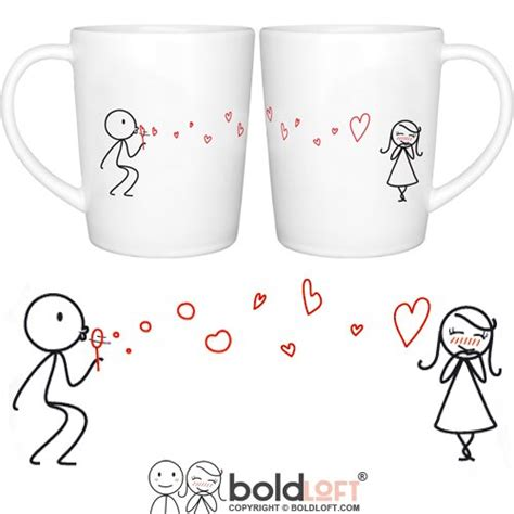 BOLDLOFT From My Heart to Yours His and Hers Matching Couple Coffee Mugs Couple Mugs Set for Him