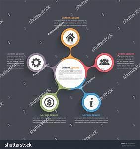 Circle Diagram Infographics Five Elements Icons Stock