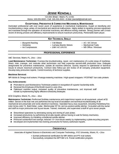 Objective For Resume Maintenance Engineer by Free Maintenance Technician Resume Exle