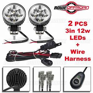 2pcs 3in 12w Led Work Light Bar Fog Offroad   Wire Harness