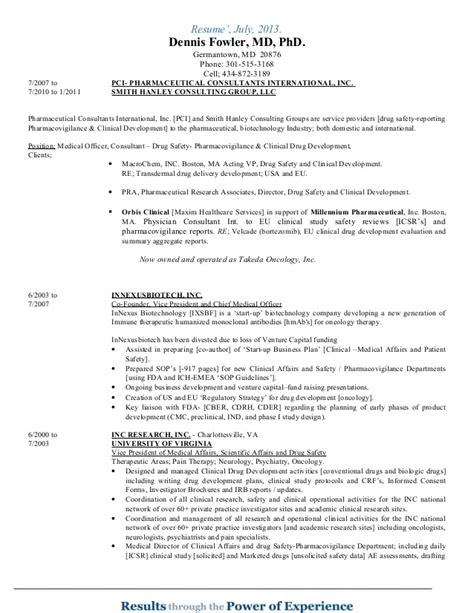 Pharmacovigilance Officer Resume by Cv Dennis Fowler July 2014