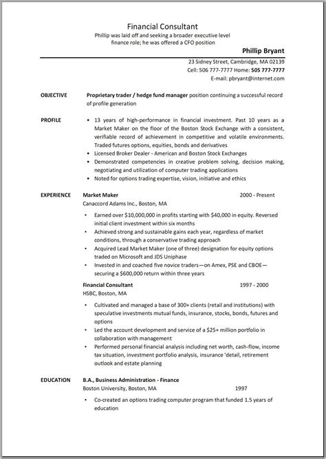 business consultant description resume sle resume