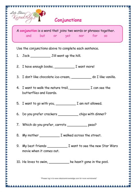 worksheets on conjunctions for grade 5 with answers conjunction exercises for class 3 with answers