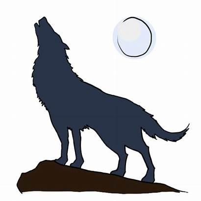 Wolf Howling Clipart Draw Cartoon Clip Moon