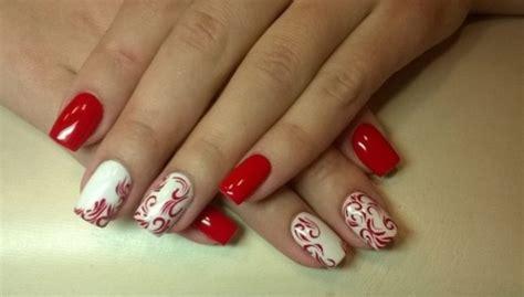 Белокрасный маникюр на короткие и длинные ногти фото красивого дизайна